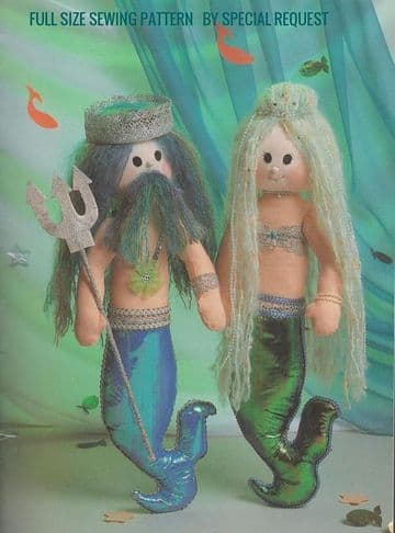 "Vintage  FULL SIZE Sewing Pattern   a 22"" Mermaid and Merman with Clothes Stuffed Soft Body Toy"