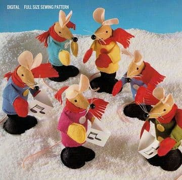 Vintage Full Size Sewing Pattern  A Chorus of Sweet Mouse or Mice Finger Puppets