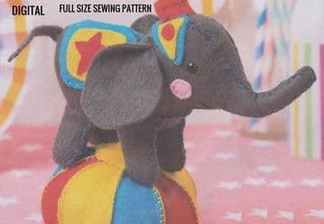 Vintage Full Size Sewing Pattern  A Cute Circus Elephant A Stuffed Plush Soft Body Toy Animal 8'