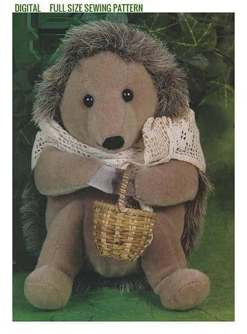 Vintage  Full Size Sewing Pattern  a Cute Little Hedgehog A Stuffed Plush Soft Body Toy