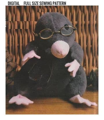Vintage Full Size Sewing Pattern  a Cute Little Mole ​​​​​​​Stuffed Plush Soft Body Toy