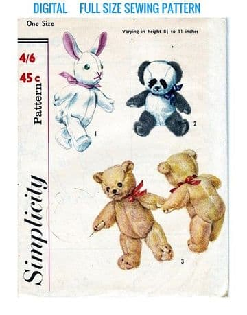 Vintage Full Size Sewing Pattern  a Rabbit, Teddy and Panda Stuffed Plush Soft Body Toys