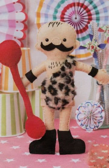 "Vintage Full Size Sewing Pattern  An Easy 13"" Circus Strongman Doll  A Stuffed Soft Body Toy"