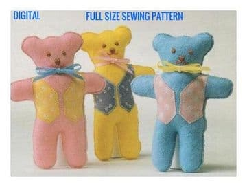 Vintage Full Size Sewing Pattern  Easy Beginners Stuffed Plush Soft Toy Teddy Bears  with Clothe