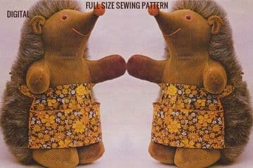 Vintage Full Size Sewing Pattern to make  a 13 inch hedgehog Stuffed Plush Soft Body Toy Animal (1)