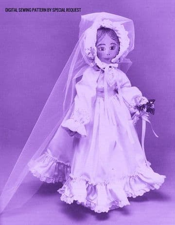 Vintage Full Size Sewing Pattern  to make A 21'' Soft Body Cloth Doll  with Her Wedding Clothes
