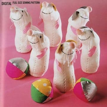 Vintage Full Size Sewing Pattern to make  Ferret Skittles Stuffed Soft Body Activity Toy