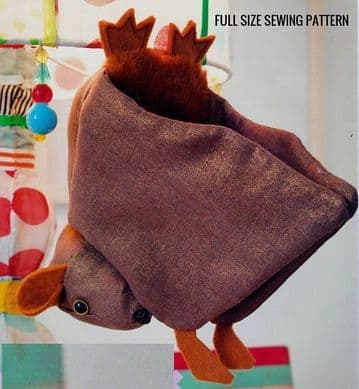 Vintage Manual Sewing Pattern  to make A Lifesize Bat A Stuffed Plush Soft Body Toy (1)