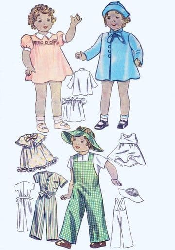 "Vintage P.D.F. Download 14"" Dolls Clothes Sewing Pattern"