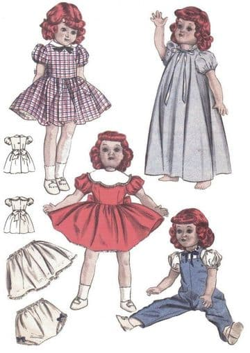 Vintage PDF Download 14 Dolls Clothes Sewing Pattern 6350 14 High 7 Chest PDF
