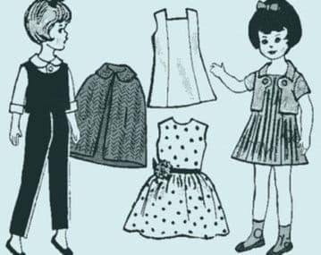 Vintage PDF Download 8'' Fashion Doll's Clothes Sewing Pattern