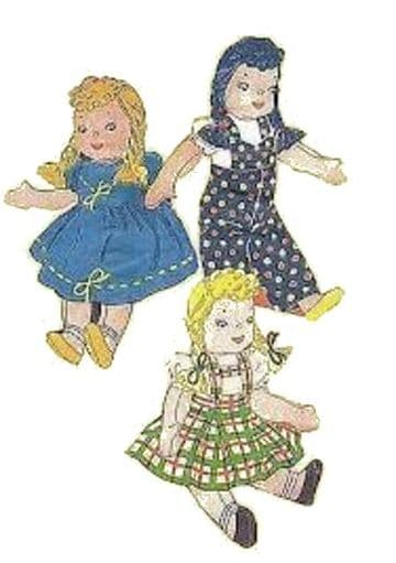 Vintage PDF Download Cute 9'' Rag Doll & Clothes Sewing Pattern