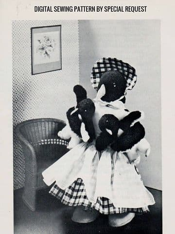 Vintage Sewing Pattern  A Mother Penguin  & Twin Babies  Stuffed Plush Soft Body Toys & Clothes