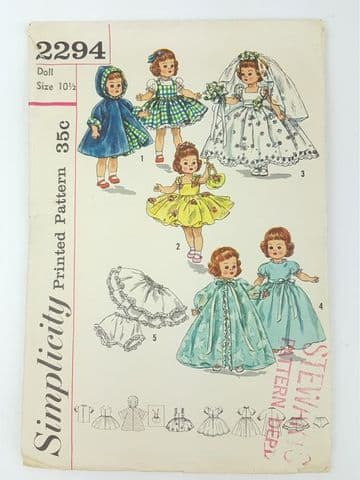 "Vintage Sewing Pattern  Dolls Clothes, Wardrobe 2294  for 10 1/2"" Baby Dolls Ginny, Muffie, (1)"