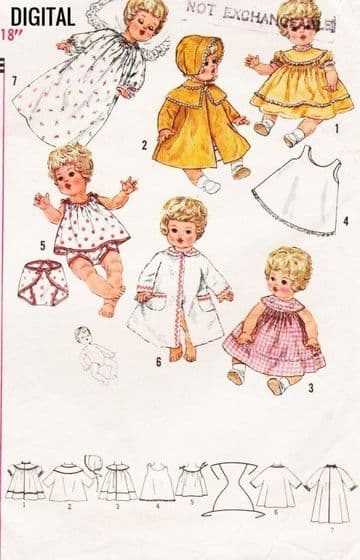 "Vintage Sewing Pattern PDF  a Pretty Selection or Wardrobe of Clothes 18"" Baby Vinyl Body Dolls"