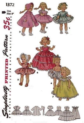 Vintage Sewing Pattern PDF Simplicity 1372 Dolls Clothes for 8'' Dolls like Muffie