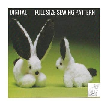 Vintage Sewing Pattern PDF  Stuffed Plush Soft Body Toy  ​​​​​​​Long Eared Bunny Rabbits 30 & 15 cm
