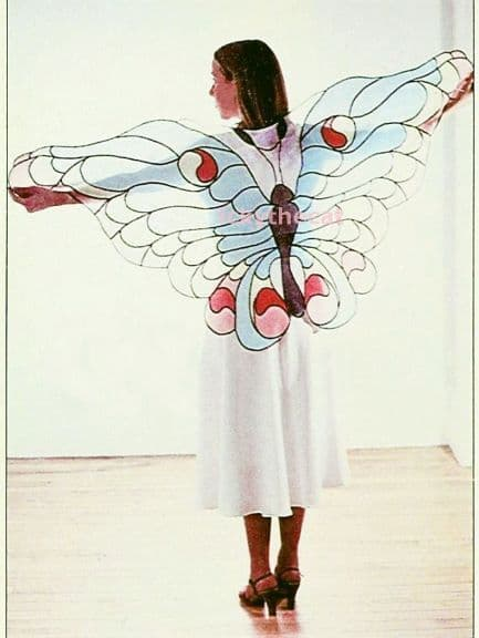 Vintage Sewing Pattern PDF Womens Stained Glass Butterfly Shawl Sheer Organdy Fabric #ickythecat