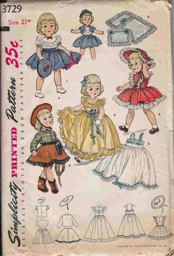 Vintage Sewing Pattern Simplicity 3729 Dolls Clothes A Wadrobe of Outfits Clothes for 21 inch Dolls
