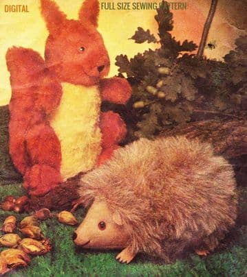 Vintage Sewing Pattern Stuffed Plush Soft Body Toy Animals A Cute Hedgehog & Red Squirrel  13""