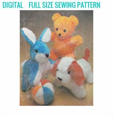 Vintage Sewing Pattern Stuffed Plush Soft Body Toys  Dog 28 cm Rabbit 30 cm Teddy 28 cm