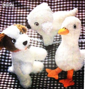 Vintage Sewing Pattern to make  3 Cute Stuffed Plush Soft Toy Animals  Puppy 18 cm Duckl & Lamb 21 c