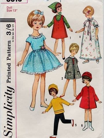 "Vintage Sewing Pattern  to make Dolls Clothes  for 13"" Fashion or Teenage Dolls like Sindy"