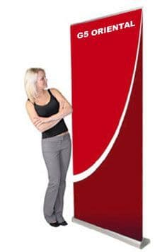 G5 ORIENTAL PULL UP ROLLER BANNER STAND - BEST SELLING MID RANGE - silver STANDARD!