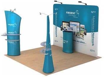 L SHAPED FABRIC EXHIBITION STAND POP UP SYSTEM KIT 2