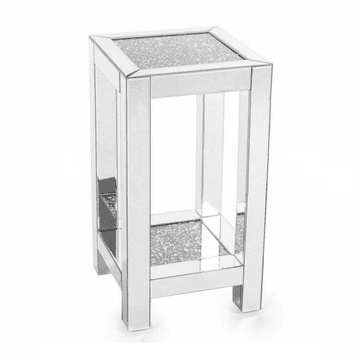 66CM Crushed Diamond Mirrored Bedside Stand
