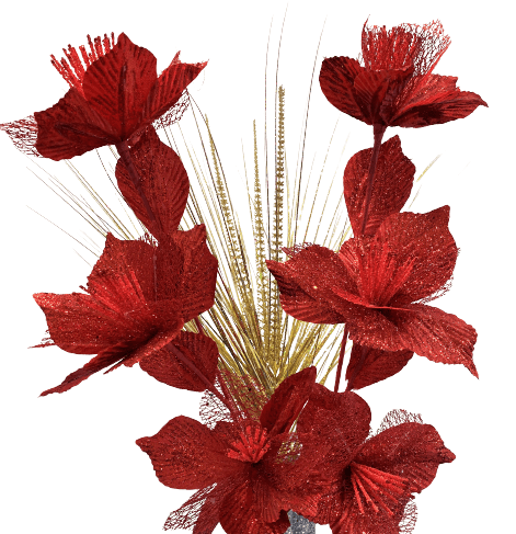 Artificial Set of Glitter Flowers - Red/Gold
