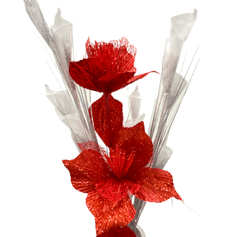 Artificial Set of Glitter Flowers - Red/White