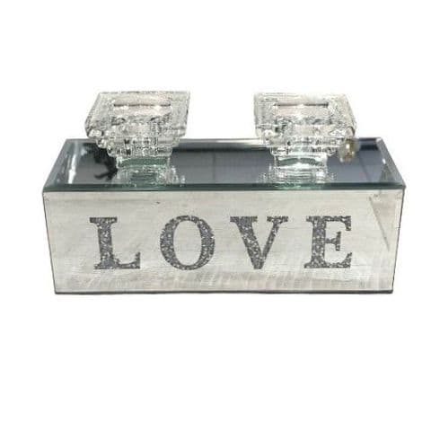 Crushed Diamond Double LOVE Candle Holder