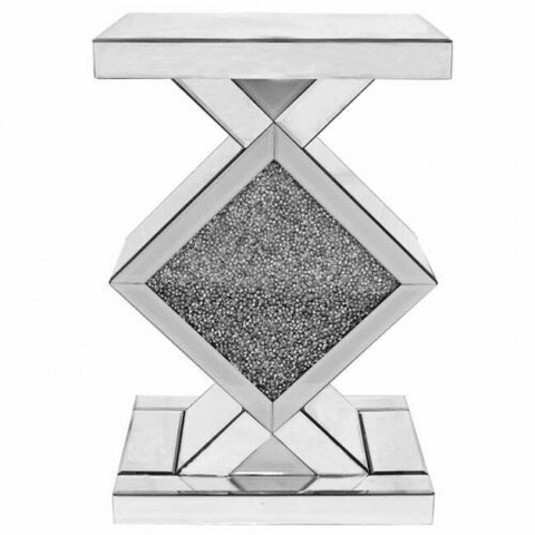 Crushed Diamond Mirrored Bedside Stand Table