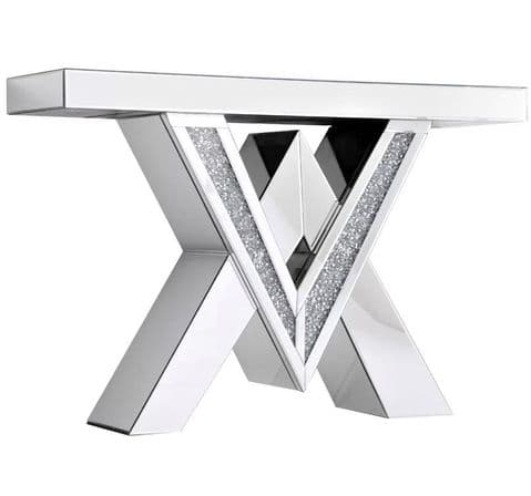 Crushed Diamond Q console table