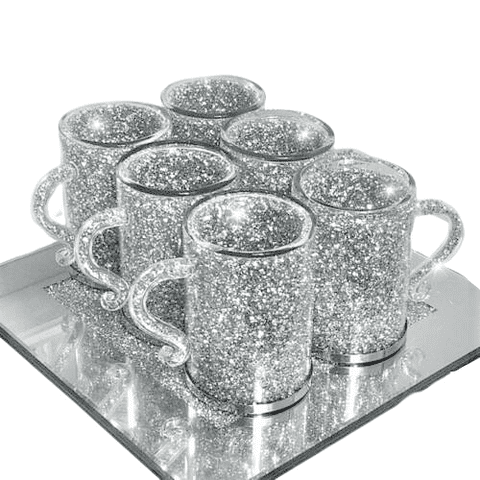 Crushed Diamond set of 6 Cups