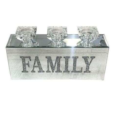 Crushed Diamond Triple FAMILY Candle Holder
