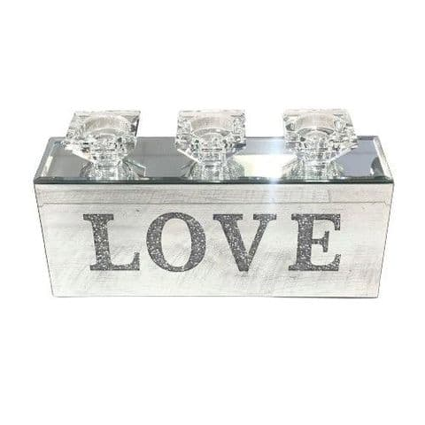 Crushed Diamond Triple LOVE Candle Holder