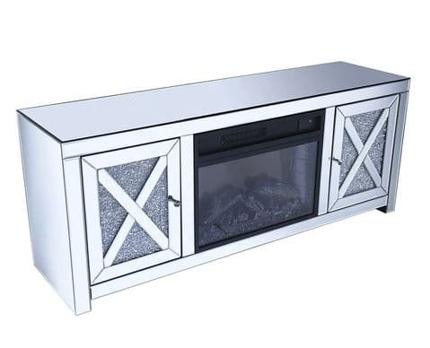 Crushed Diamond TV Unit with Fire