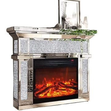 Mirrored Venetian Crushed Diamond Crystal Fireplace Surround & Electric Fire