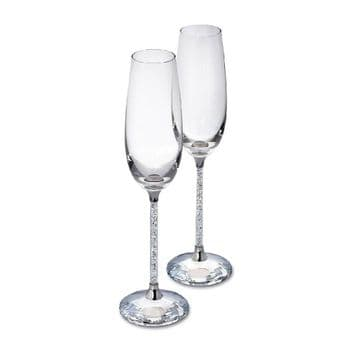 Pair Of Champagne Flutes With Crushed Diamonds