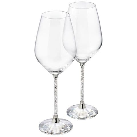 Pair Of Wine Glasses With Crushed Diamonds
