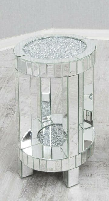 Round Crushed Diamond Mirrored Bedside Stand Table