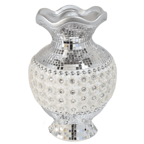 Small Mosaic Vase with Pearl Flowers