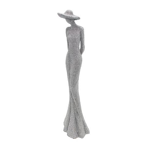 Studded Silver Effect Lady with Hat