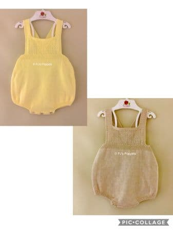 Baby Boys Girls Portuguese Knitted Dungaree Romper Yellow Biscuit 3 6 12 18