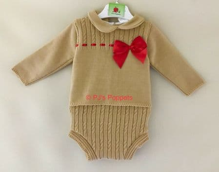 BABY BOYS GIRLS PORTUGUESE KNITTED JUMPER JAM PANTS SET CAMEL RED BOW