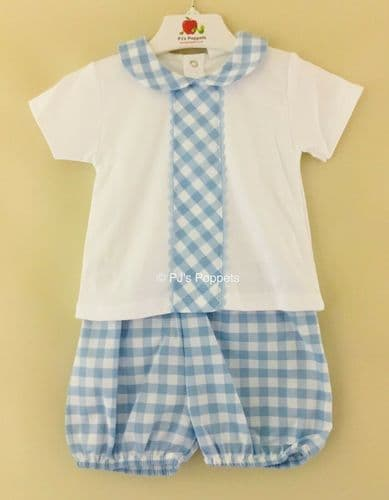 BABY BOYS JAM PANTS SET BLUE WHITE GINGHAM