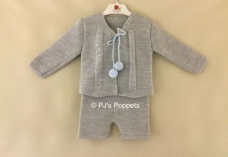BABY BOYS PORTUGUESE KNITTED BRACER SHORTS POM POM CARDIGAN SET GREY