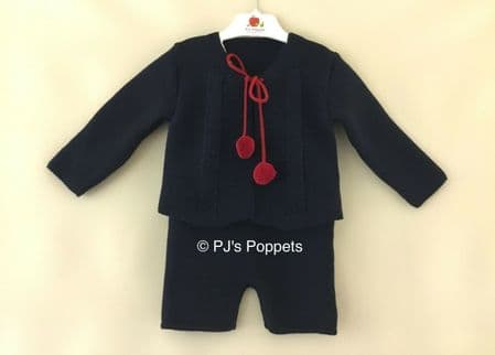 BABY BOYS PORTUGUESE KNITTED H BAR SHORTS POM POM CARDIGAN SET NAVY